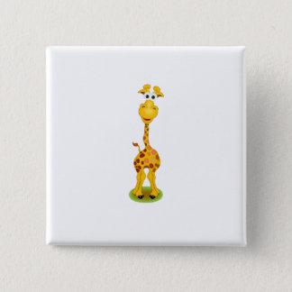 黄色およびオレンジ幸せな漫画のキリン 5.1CM 正方形バッジ