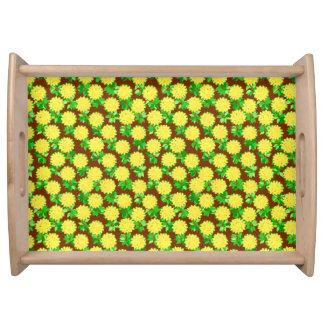 黄色およびチョコレートのダリアの花 トレー
