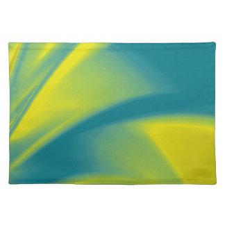 黄色およびティール(緑がかった色)の渦巻 ランチョンマット