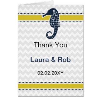黄色および海軍タツノオトシゴのビーチ結婚式の文房具 カード