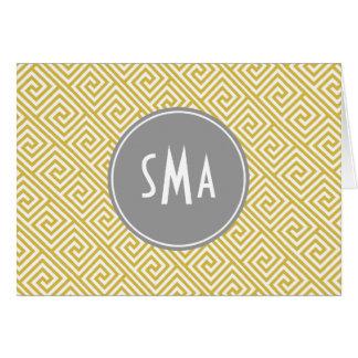 黄色および灰色のギリシャの主パターンモノグラム カード