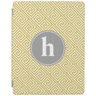 黄色および灰色のギリシャの主パターンモノグラム iPadスマートカバー