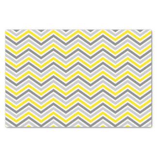 黄色および灰色のシェブロンのジグザグパターン 薄葉紙