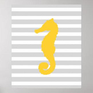 黄色および灰色のストライプので航海のなタツノオトシゴ ポスター