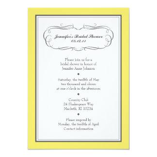 黄色および灰色のタキシードのシャワーの招待状 カード