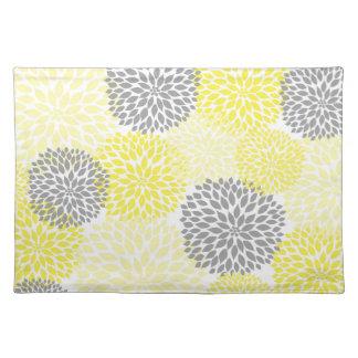 黄色および灰色のダリアのミイラのランチョンマット ランチョンマット