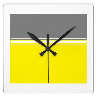 黄色および灰色の正方形の柱時計の力 スクエア壁時計