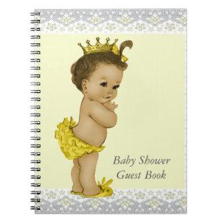黄色および灰色の民族のベビーシャワーの来客名簿 ノートブック