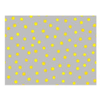 黄色および灰色の紙吹雪の点 ポストカード