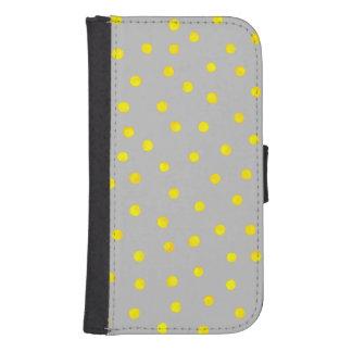 黄色および灰色の紙吹雪の点 財布型Galaxy S4ケース