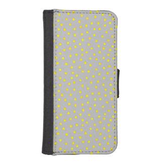 黄色および灰色の紙吹雪の点 財布型IPHONE5ケース