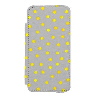 黄色および灰色の紙吹雪の点 INCIPIO WATSON™ iPhone 5 ウォレット ケース