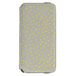 黄色および灰色の紙吹雪の点 INCIPIO WATSON™ iPhone 6 財布ケース