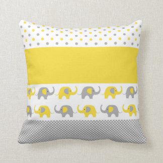 黄色および灰色ミニ象の枕 クッション