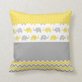 黄色および灰色象の枕 クッション