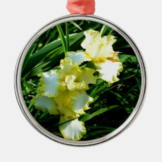 黄色および白いアイリス花 メタルオーナメント