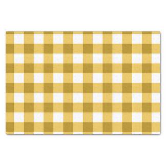 黄色および白いギンガムの点検パターン 薄葉紙