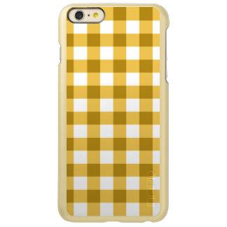 黄色および白いギンガムの点検パターン INCIPIO FEATHER SHINE iPhone 6 PLUSケース
