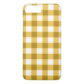 黄色および白いギンガムの点検パターン iPhone 8 PLUS/7 PLUSケース