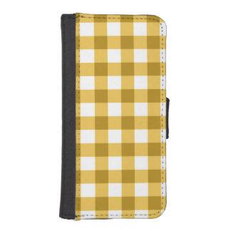 黄色および白いギンガムの点検パターン iPhoneSE/5/5sウォレットケース