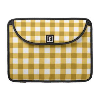 黄色および白いギンガムの点検パターン MacBook PROスリーブ