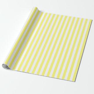 黄色および白いストライプの ラッピングペーパー