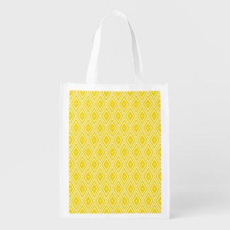 黄色および白いダイヤモンド エコバッグ
