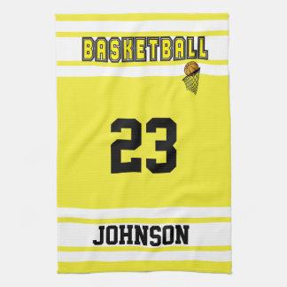 黄色および白いバスケットボール キッチンタオル