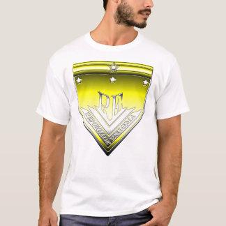 黄色および白い反逆するエニグマの頂上のTシャツ Tシャツ