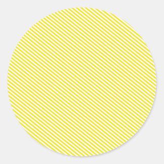 黄色および白い斜めのストライプ ラウンドシール