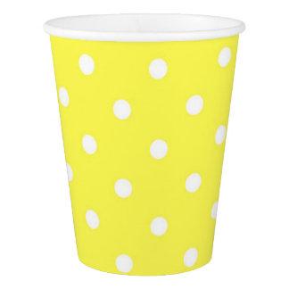 黄色および白い水玉模様のかわいい魅力 紙コップ