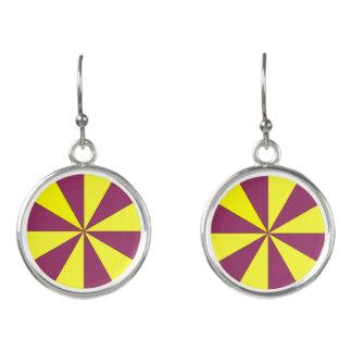 黄色および紫色 イヤリング