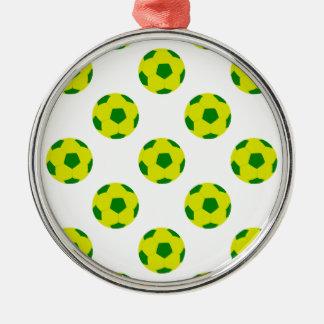 黄色および緑のサッカーボールパターン メタルオーナメント