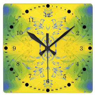 黄色および緑の花柄 スクエア壁時計