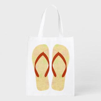 黄色および赤いビーチの夏のビーチサンダルのバッグ エコバッグ