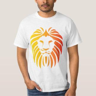 黄色および赤いライオンの顔 Tシャツ