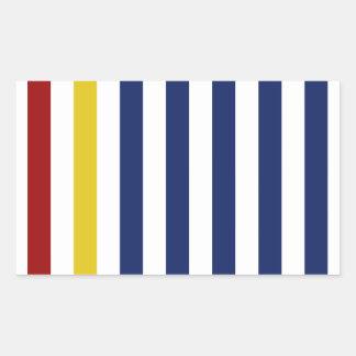 黄色および赤のストライプを使って 長方形シール