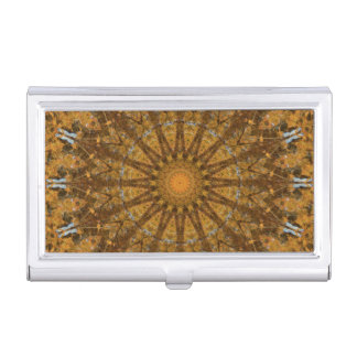 黄色および金ゴールドの秋の曼荼羅の万華鏡のように千変万化するパターン 名刺入れ