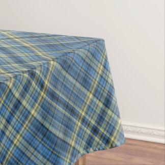 黄色および青のタータンチェックパターン テーブルクロス
