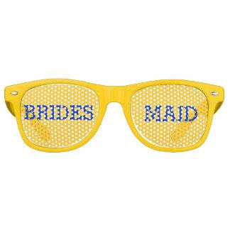 黄色および青の新婦付添人のパーティーの目ガラス レトロサングラス