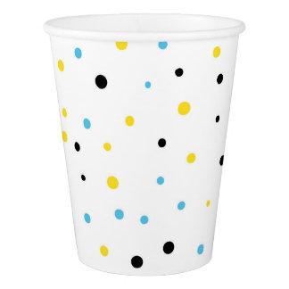黄色および青の紙吹雪のドット・パターンのモダン 紙コップ