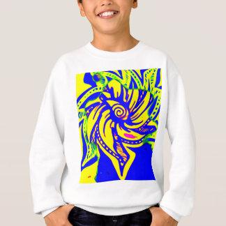 黄色および青の開花 スウェットシャツ