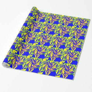 黄色および青の開花 ラッピングペーパー