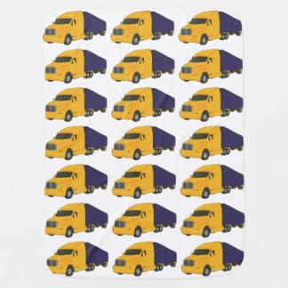 黄色および青ベビーブランケットをトラックで運びます ベビー ブランケット