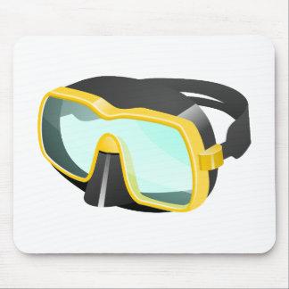 黄色および黒いダイビングまたはスキューバまたはスノーケリングのマスク マウスパッド