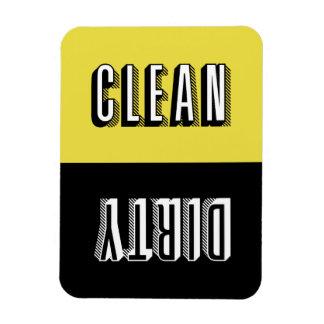 黄色および黒いブロックのレトロのタイポグラフィの食洗機 マグネット