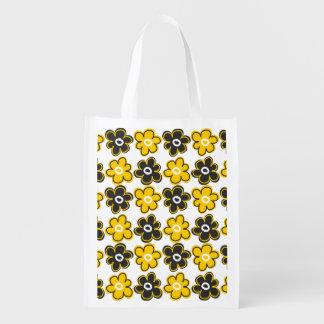 黄色および黒いレトロの花模様 エコバッグ