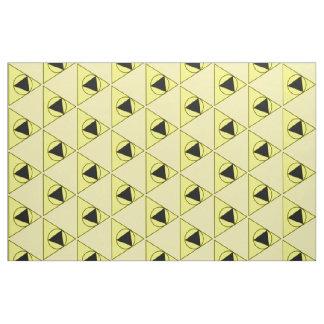 黄色および黒い三角形および円のデザイン ファブリック