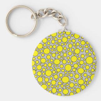 黄色および黒い水玉模様の灰色Keychain キーホルダー