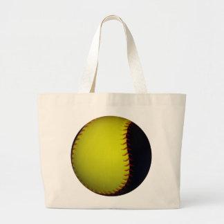 黄色および黒い野球/ソフトボール ラージトートバッグ